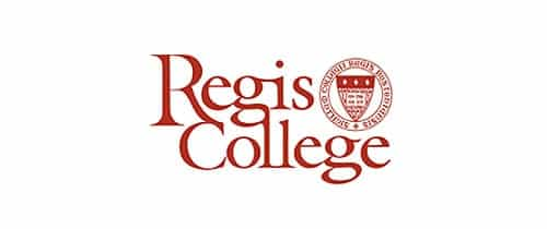 Regis College higher education brand and logo